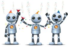 Little robot party group on isolated white background. Illustration of a happy droid little robot party group on isolated white background Stock Illustration