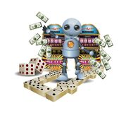 Little Robot Playing Gambling On Isolated White Background Stock Photo