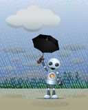 Little robot playing in the rain holding umbrella