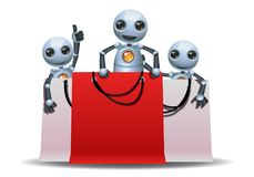 Little robot playing in shopping bag Royalty Free Stock Photo