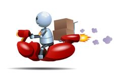 Little robot riding bike delivering box stock illustration
