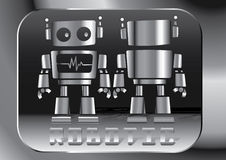 Little robot. Vector illustration of the front and back on a silver robot Royalty Free Stock Photography