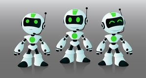 Little robots assistants. To work on the site, chat and call center Stock Photos