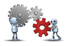 Little robots connecting the gears. Illustration of a little robots connecting the gears on isolated white background stock illustration