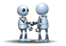 Little robots handshake on isolated white background. Illustration of a little robots handshake on isolated white background royalty free illustration