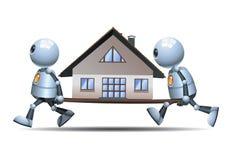 Little robots moving small house. Illustration of a little robots moving small house on isolated white background stock illustration