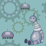 Little robots. Pattern with little toy robots Royalty Free Stock Images