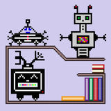 Little robots on a shelf with books vector illustration