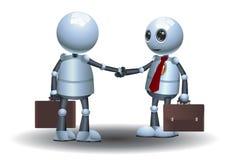 Little robots team business handshake image royalty free illustration