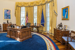 Little Rock, AR/USA - circa February 2016: Replica of White House's Oval Office in Bill Clinton Presidential Center and Library Stock Photo