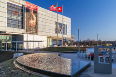 Little Rock, AR/USA - circa February 2016: William J. Clinton Presidential Center and Library in Little Rock, Arkansas stock images