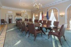 Little Rock, AR/USA - circa im Februar 2016: Replik des Konferenzsaales des Weißen Hauses in Bill Clinton Presidential Center lizenzfreie stockfotografie