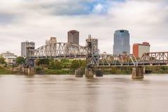 Little Rock, Arkansas City Skyline. LITTLE ROCK, AR - OCTOBER 11, 2017: Little Rock Junction Bridge and city skyline from across the Arkansas River stock photography