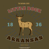 Little Rock, Arkansas Grafische t-shirt Vector Royalty-vrije Stock Afbeeldingen