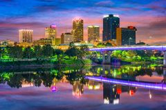 Little Rock, Arkansas. USA downtown skyline on the Arkansas River Royalty Free Stock Photo
