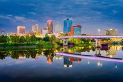 Little Rock, Arkansas, orizzonte di U.S.A. sul fiume Arkansas fotografie stock libere da diritti