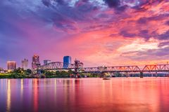 Little Rock, Arkansas, USA. Downtown skyline on the Arkansas River Royalty Free Stock Images