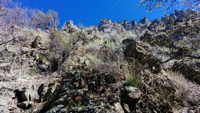 Little Rock Canyon Craggy Pinnacles. A beautiful scene looking up at the craggy pinnacles of Little Rock Canyon in Provo, UT, USA royalty free stock photo