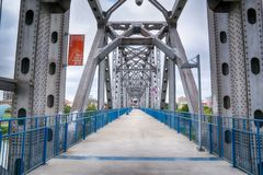 Little Rock Junction Bridge. LITTLE ROCK, AR - OCTOBER 11, 2017: The Junction Bridge is a historic revitalized pedestrian bridge across the Arkansas River in royalty free stock photos