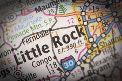 Little Rock on map. Closeup of Little Rock, Arkansas on a road map of the United States Stock Photos