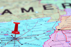 Little Rock pinned on a map of USA Stock Photos