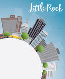 Little Rock Skyline with Grey Building, Blue Sky and copy space Stock Image