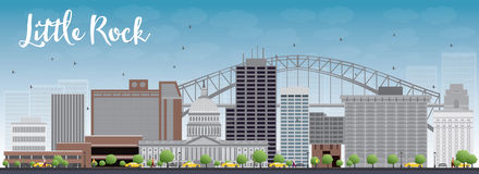 Little Rock Skyline with Grey Building and Blue Sky. Royalty Free Stock Photo