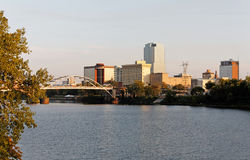 Little Rock at Sunset. A view of the skyline of Little Rock, Arkansas at sunset stock photography