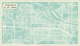 Little Rock USA City Map in Retro Style. Outline Map. Vector Illustration Royalty Free Stock Images