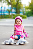 Little roller skater Royalty Free Stock Images