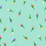Little rose buds. Vector little rosebuds floral seamless pattern on mint background Stock Photo