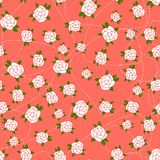 Little Rose seamless background. Pink seamless pattern with small white roses and white dotted line Royalty Free Stock Photo