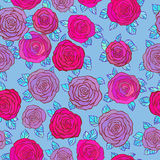 Little Roses seamless background on blue Stock Images