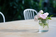Little roses. Little roses on the table ann make the dinner different Royalty Free Stock Photos