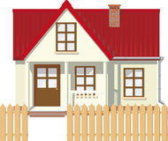 Little rural house. Small Mansion rural house with red roof surrounded by a fence Stock Illustration