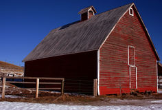 Little's Barn 4. Rustic red Idaho barn in early winter Royalty Free Stock Image