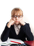 Little sad blond schoolgirl with glasses Royalty Free Stock Image