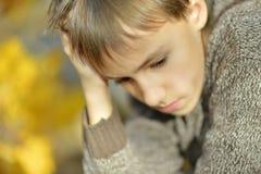Little sad boy. In autumn park close-up Stock Photos