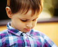 Little sad boy portrait Stock Photos