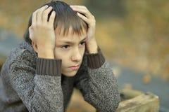 Little sad boy. Portrait of a little sad boy in autumn park Stock Image
