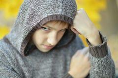 Little sad boy. Portrait of a little sad boy in autumn park Stock Photos