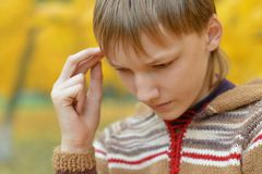 Little sad boy. In a warm sweater for a walk in the autumn stock photo
