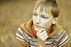 Little sad boy. In a warm sweater for a walk in the autumn Royalty Free Stock Photography