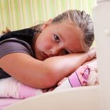 Little sad girl. With teardrops in her eyes Royalty Free Stock Photography