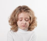 Little sad girl. After crying Royalty Free Stock Image