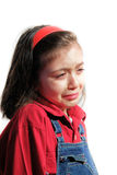 Little sad girl is crying. Isolated stock photography