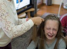 Little sad girl crying Stock Photography