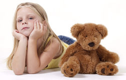 Little sad girl with teddy Royalty Free Stock Photography