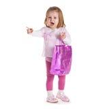 Little Sad Girl With Shopping Bag Stock Photo