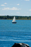 Little sail boat. A little sail boat sailing on the river Stock Images